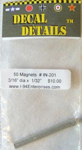 Pack of 50 magnets. 3/16 dia x 1/32 thick (4.8mm dia x .8mm thick)